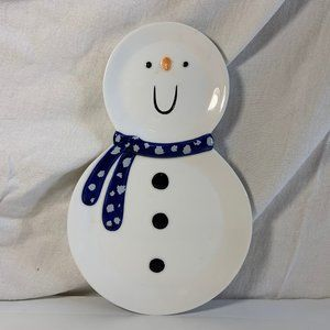 Snowman Plate Christmas Department 56 Snack Blue